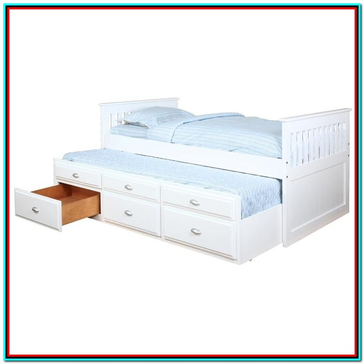 Full Size Captain Bed With Twin Trundle And 3 Storage Drawers