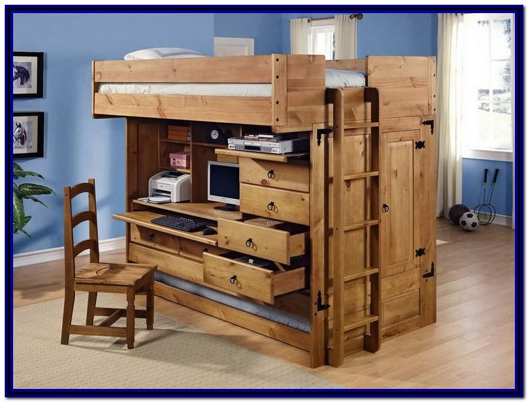Full Size Loft Bed With Desk Underneath Plans