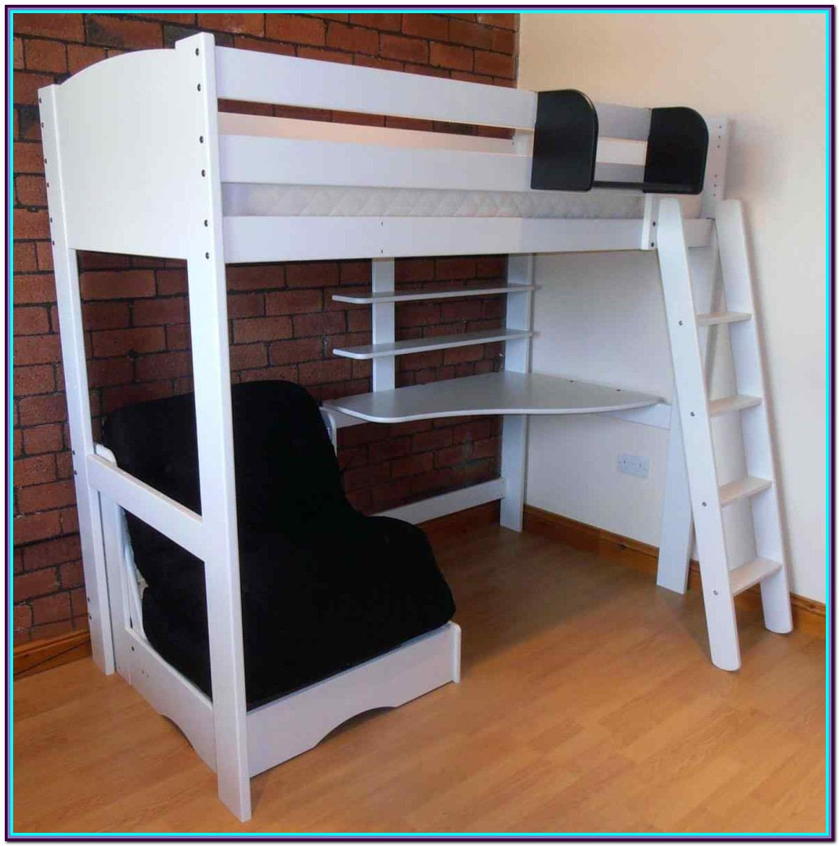 Full Size Wood Loft Bed With Desk Underneath