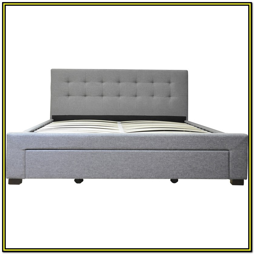 Grey Double Bed Frame With Drawers