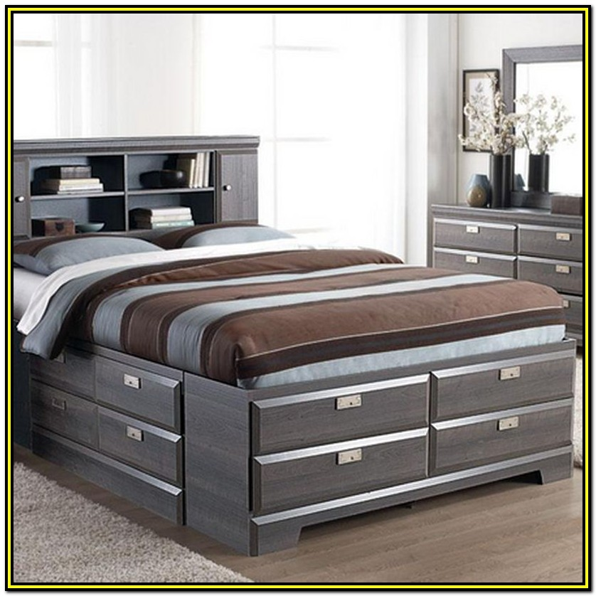 King Bed Frame With Drawers Canada