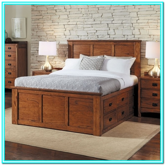 King Size Platform Bed With Drawers And Headboard
