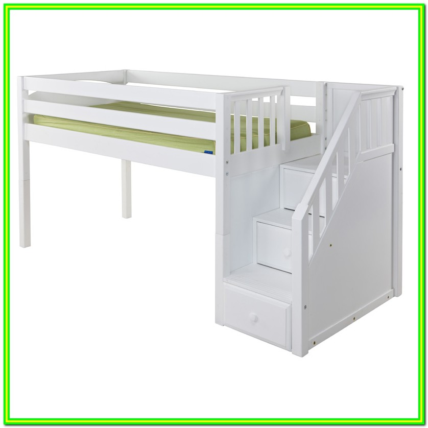 Low Loft Bed With Stairs Plans