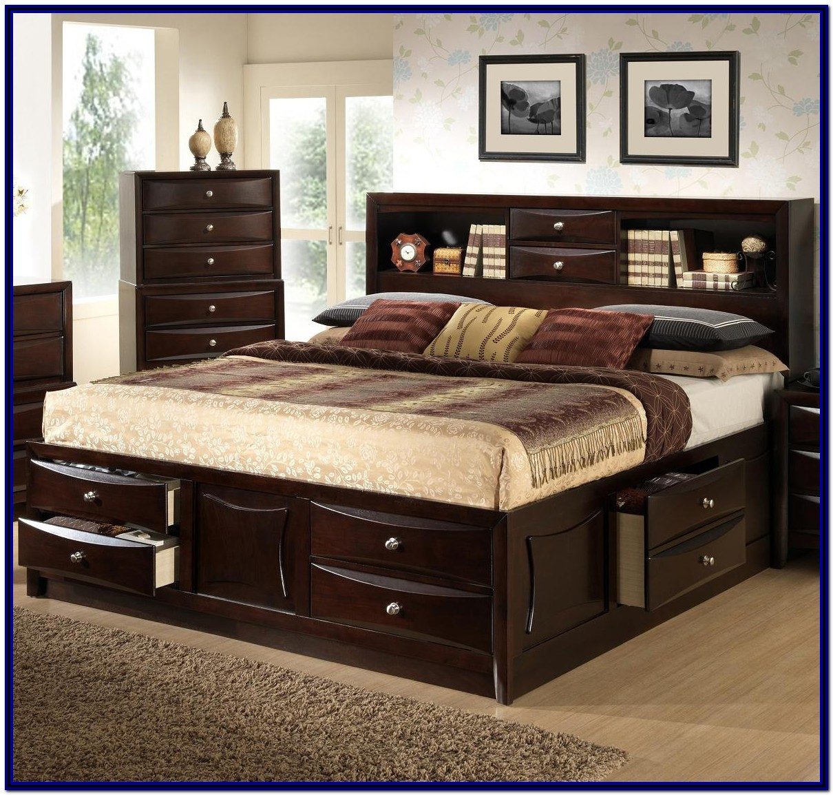 Queen Bed Frame With Storage Headboard