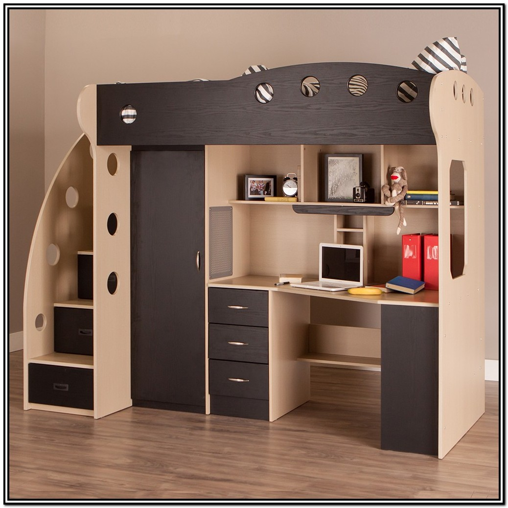 Queen Loft Bed With Stairs And Desk