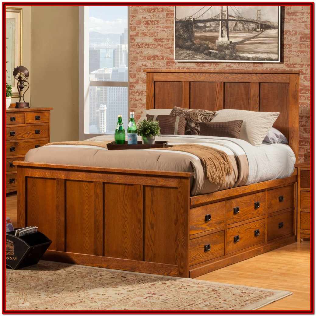Queen Size Bed Frame With Headboard And Drawers