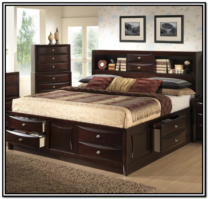 Queen Size Bed Frame With Storage And Headboard