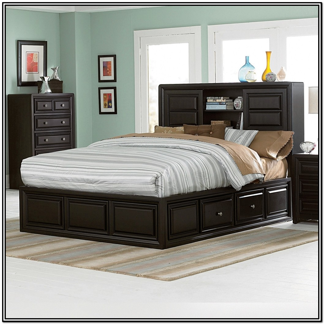 Queen Storage Bed Frame With Bookcase Headboard