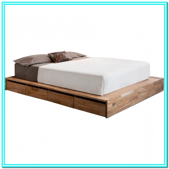 Solid Wood Full Size Platform Bed With Drawers
