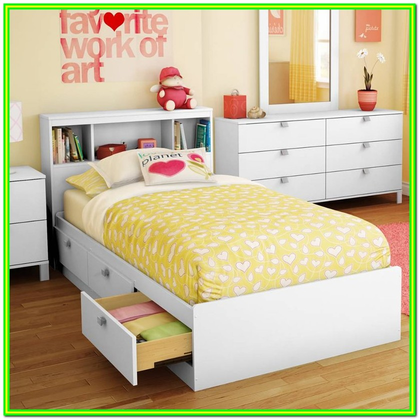 Twin Bed With Storage Drawers And Headboard