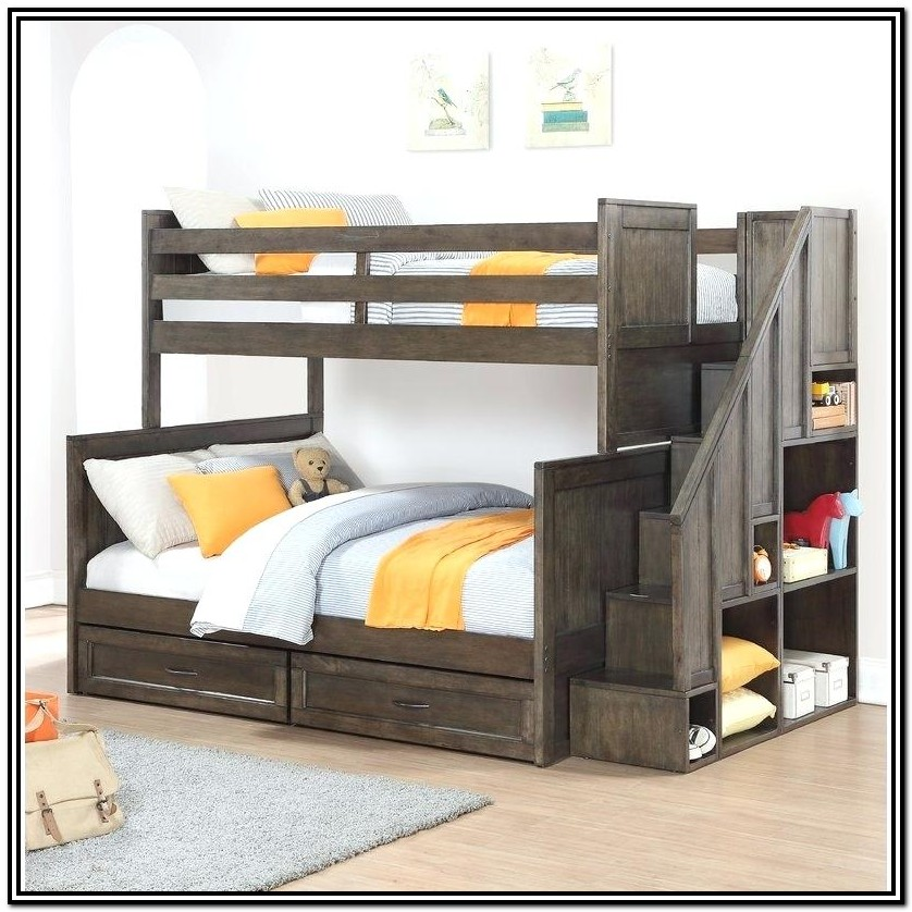 Twin Over Double Bunk Bed With Stairs Canada