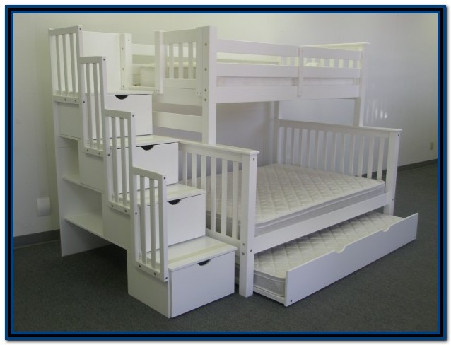 Twin Over Full Bunk Bed With Stairs And Trundle