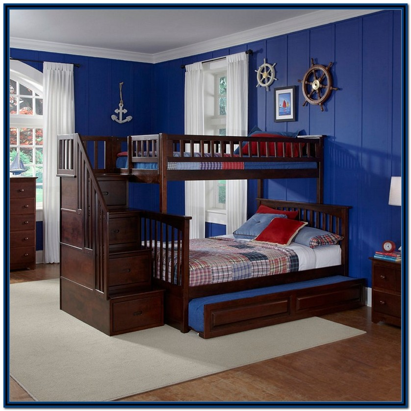 Twin Over Full Bunk Bed With Trundle And Stairs