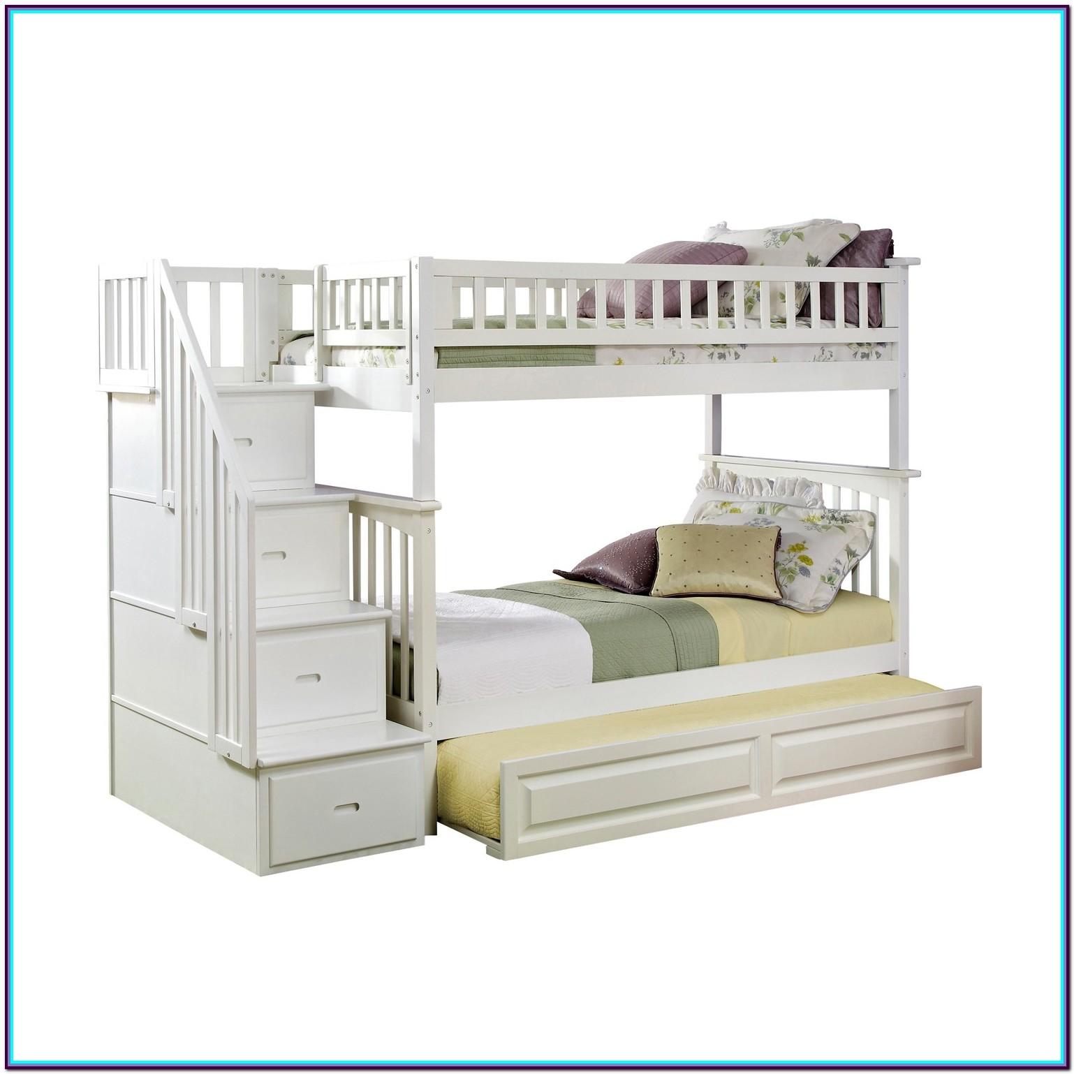 Twin Over Twin Bunk Beds With Trundle And Stairs