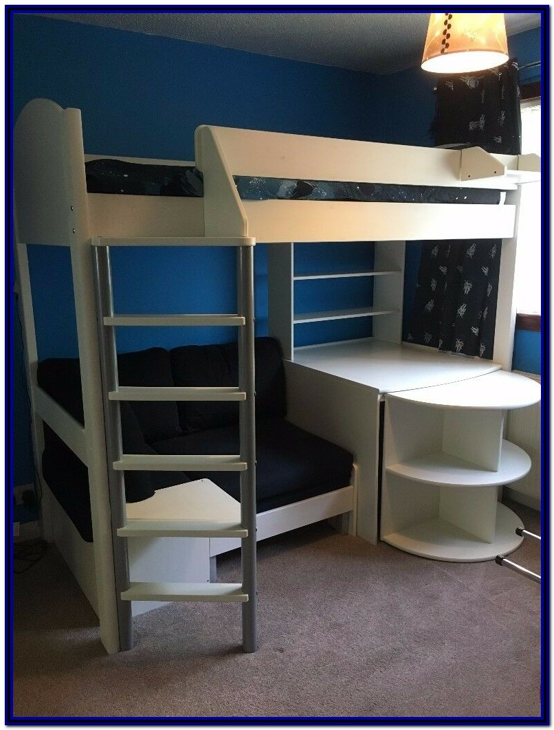 White Bunk Bed With Desk And Sofa