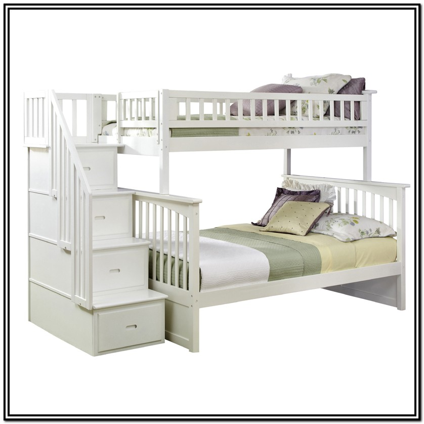 White Bunk Bed With Staircase