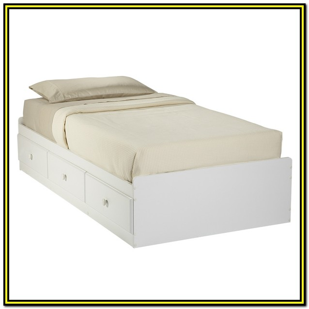 White Double Bed Frame With Drawers
