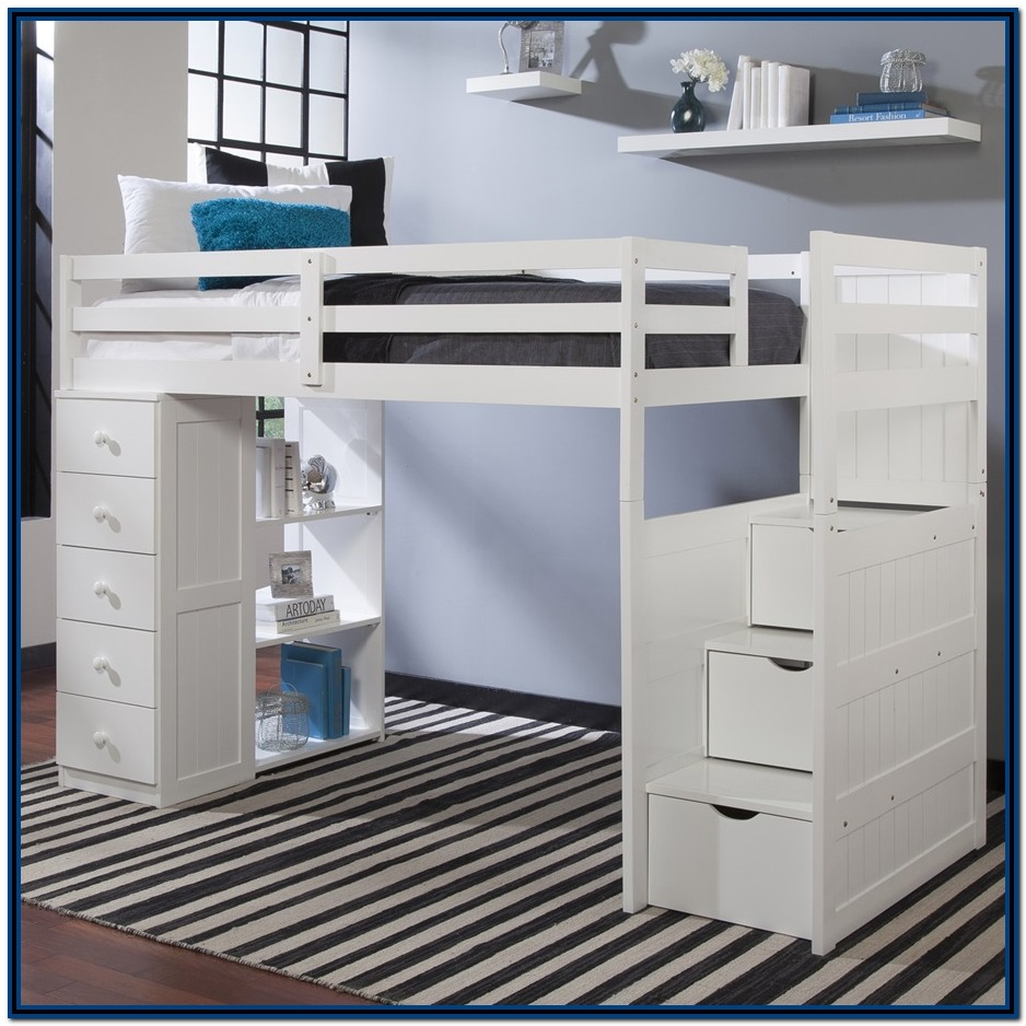 White Loft Bed With Desk And Stairs