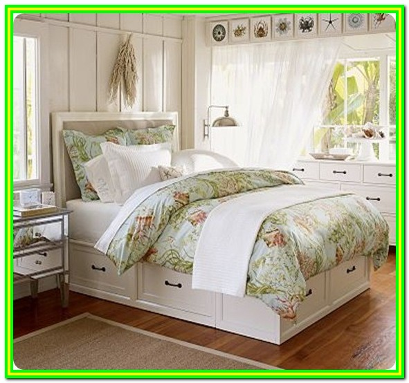 White Twin Bed With Storage Drawers