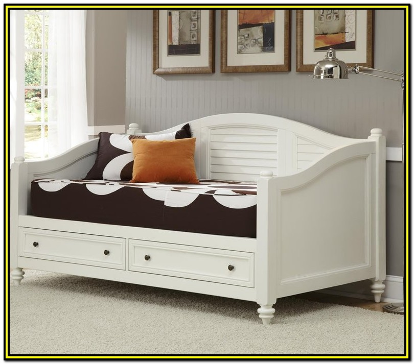 White Twin Daybed With Trundle And Storage Drawers
