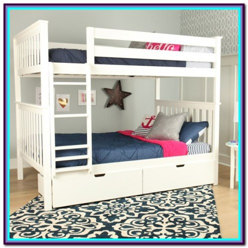 White Twin Over Twin Bunk Bed With Storage
