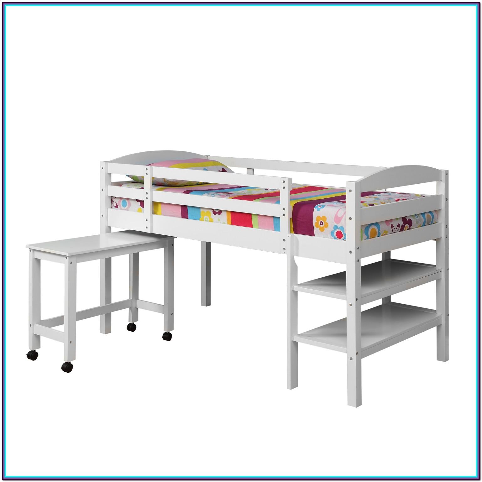 White Wood Full Loft Bed With Desk