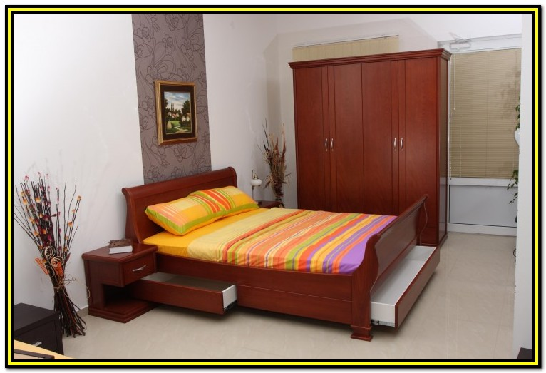 Wooden Double Bed Frame With Drawers