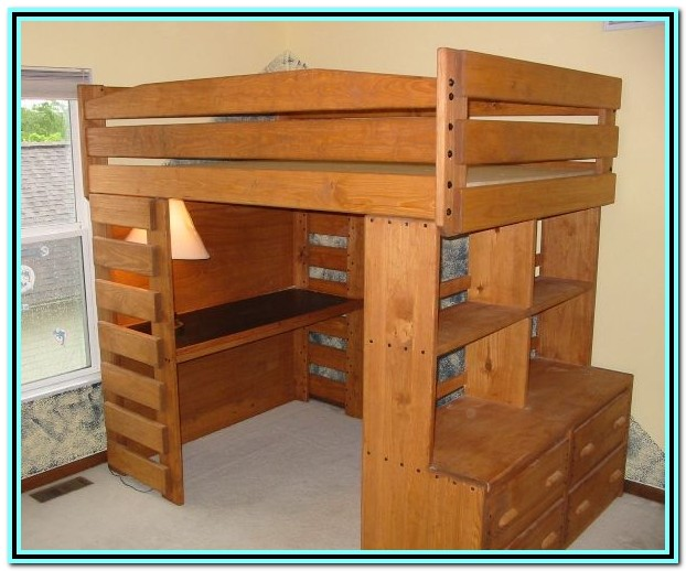 Wooden Loft Bed With Desk And Dresser