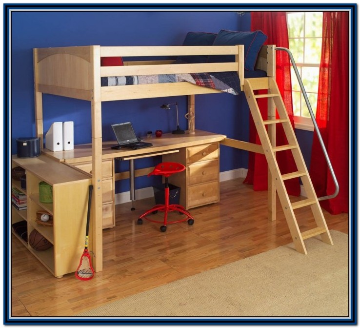 Wooden Loft Bed With Desk And Futon