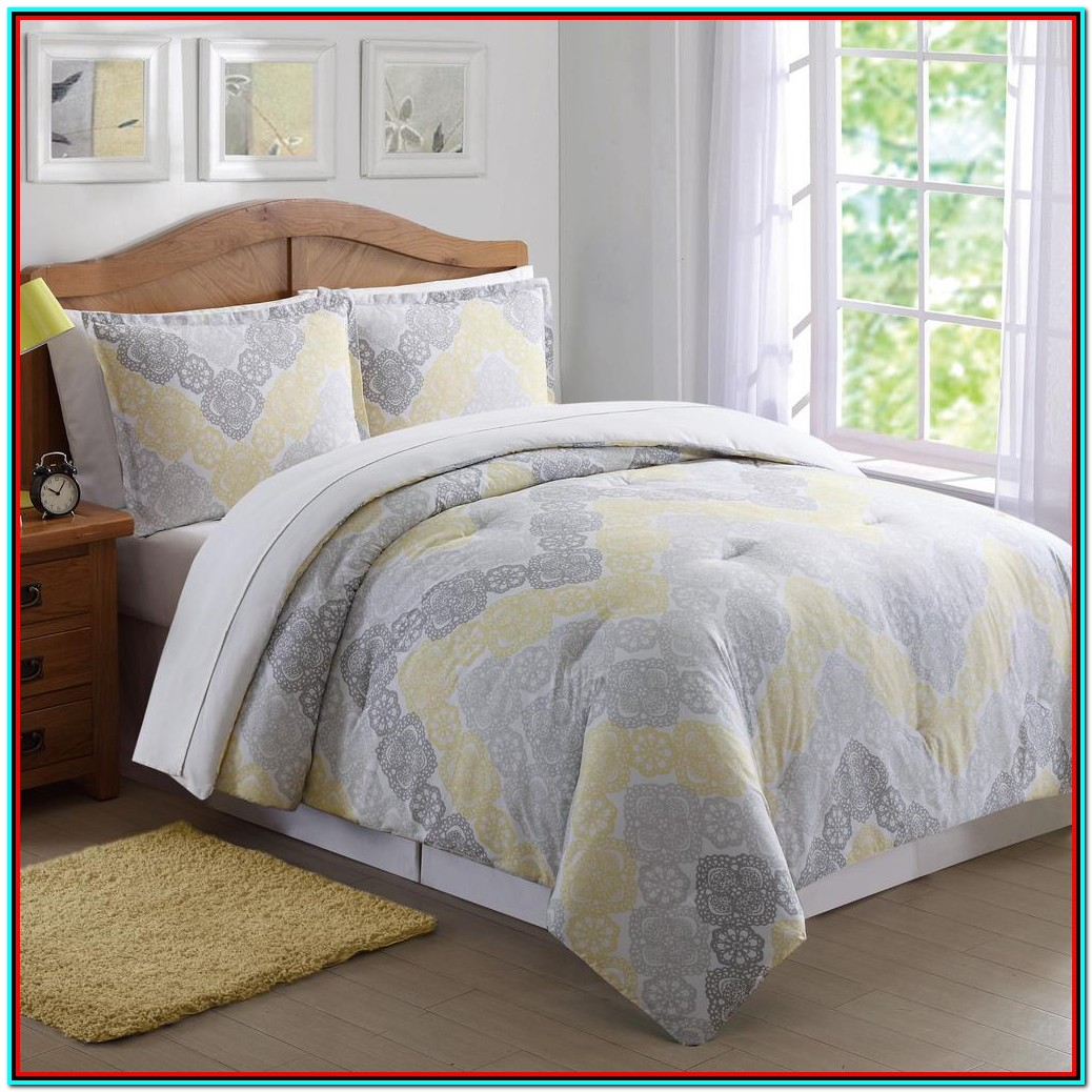 Yellow Grey And White Bedding Sets