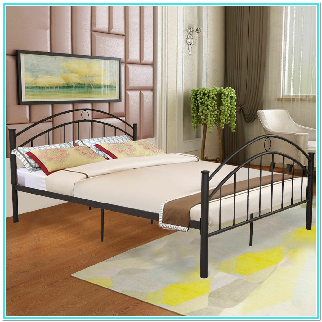 Black Queen Platform Bed Frame With Headboard