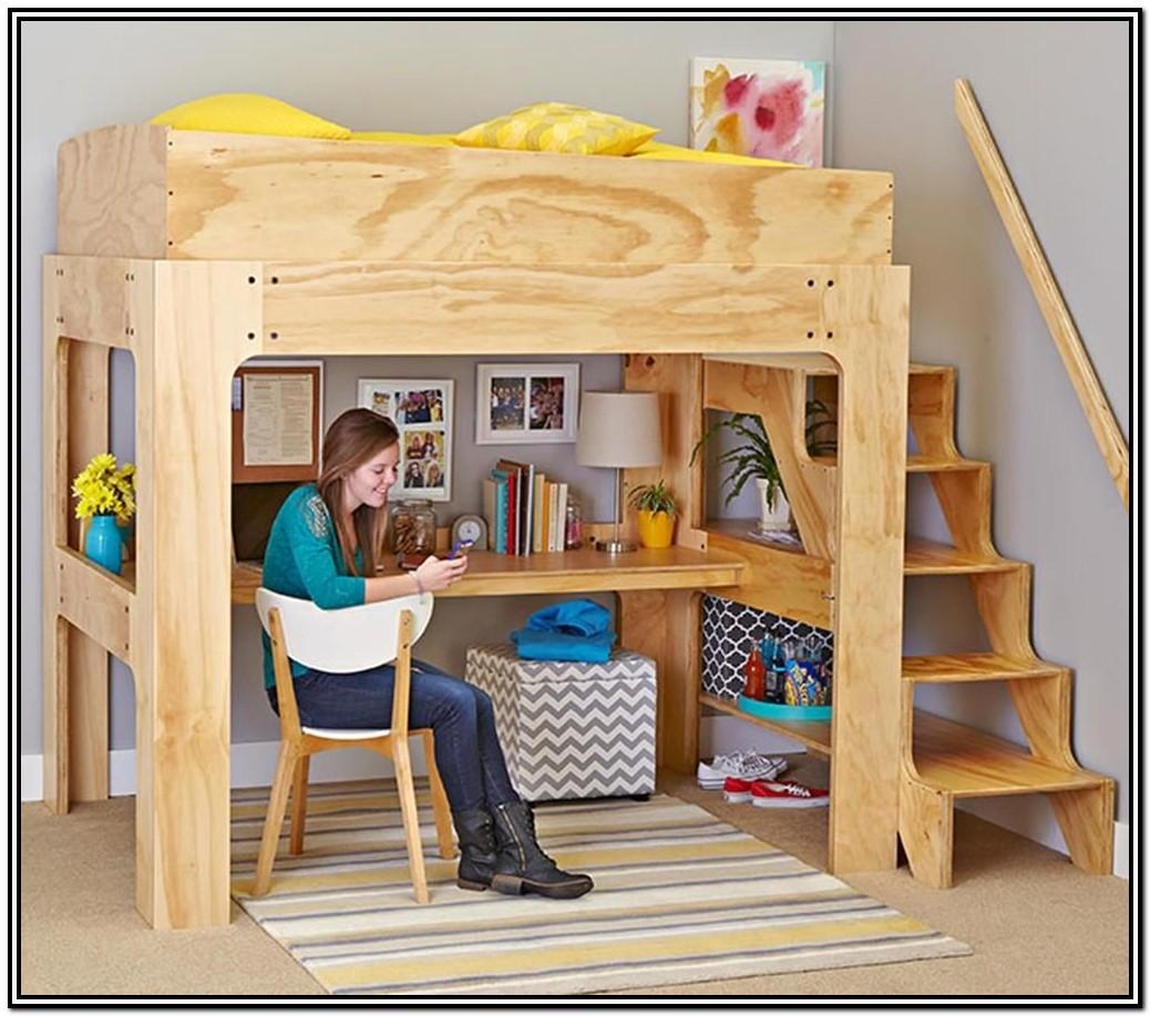Diy Loft Bed With Desk Plans Free