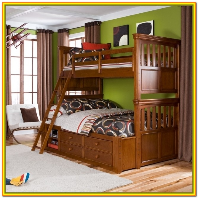 Full Over Queen Bunk Bed With Steps