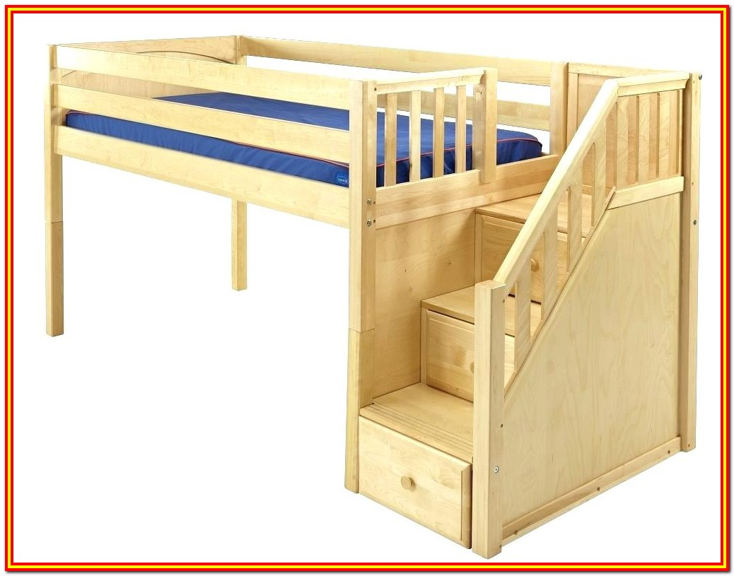 Full Size Low Loft Bed With Storage