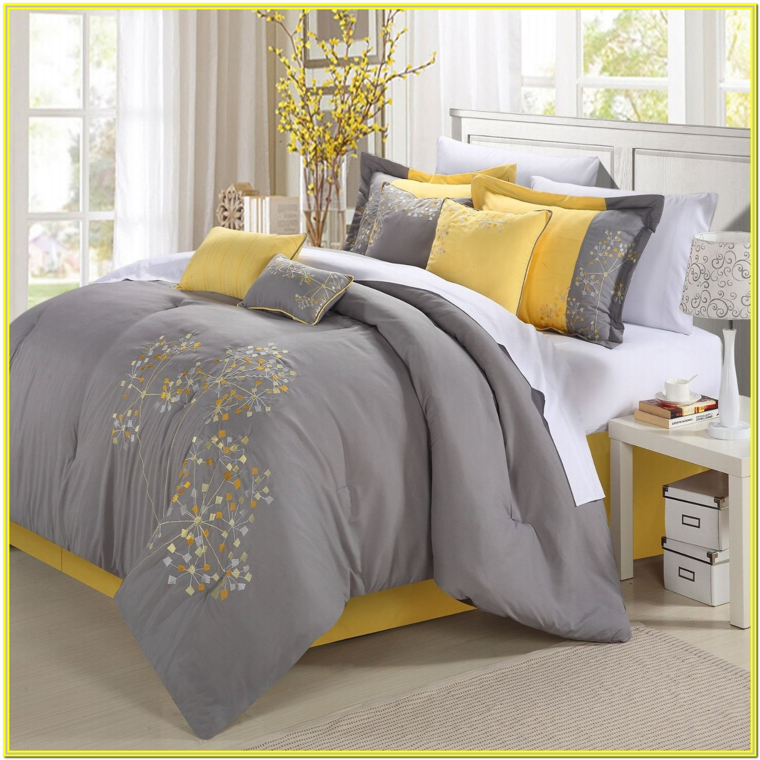 Grey White And Yellow Cot Bedding
