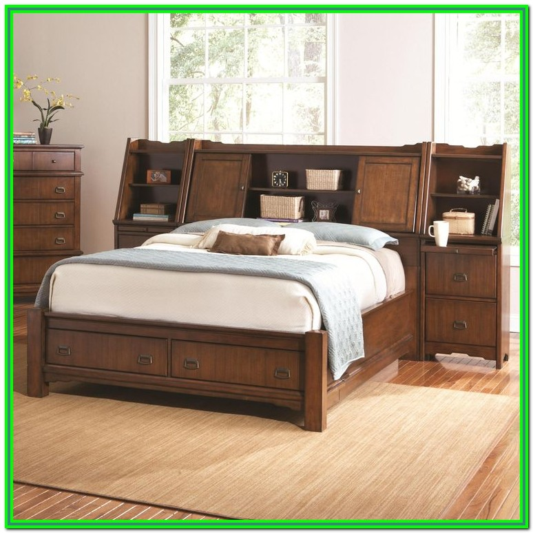 King Bed Frame With Storage And Bookcase Headboard