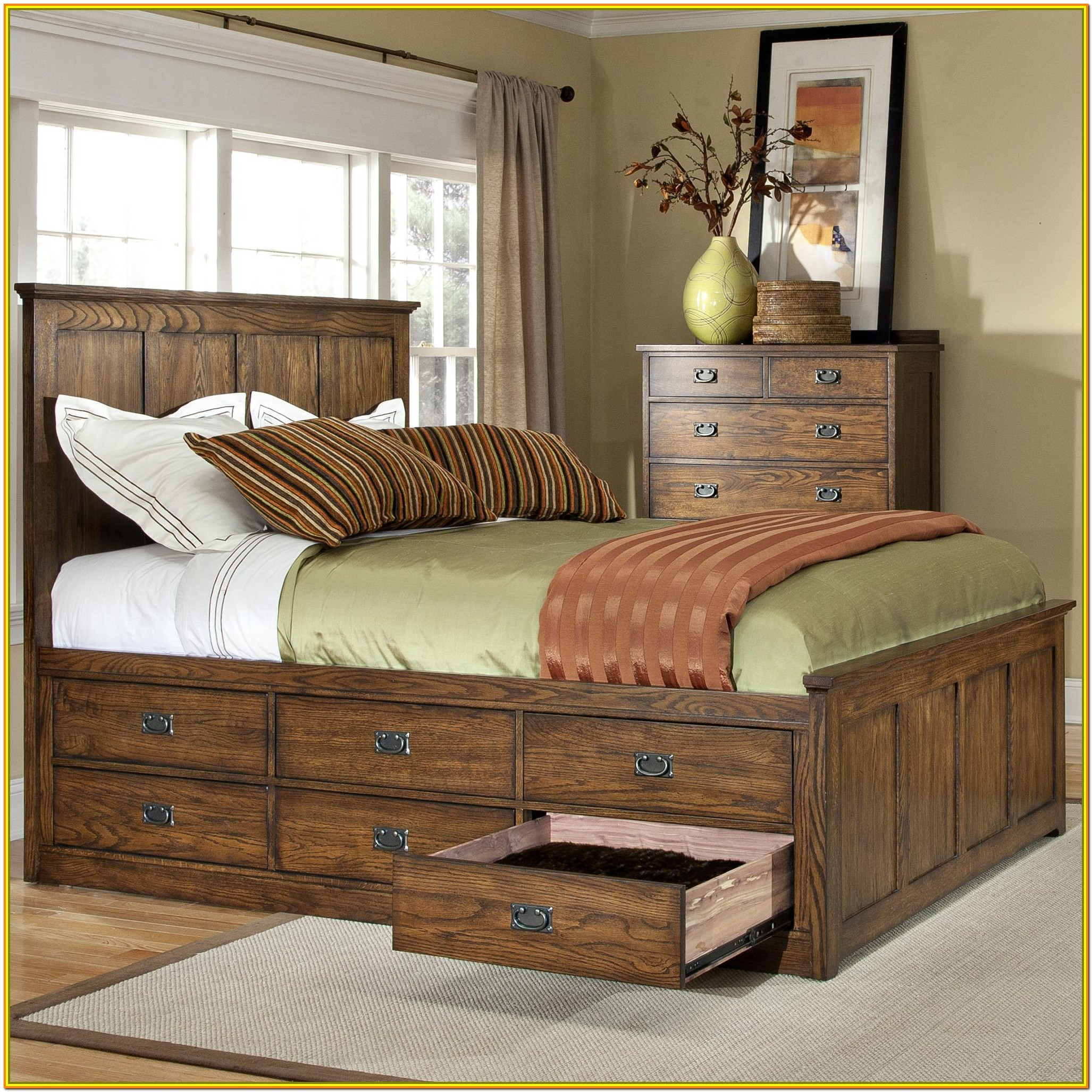 King Size Platform Bed With Storage Drawers