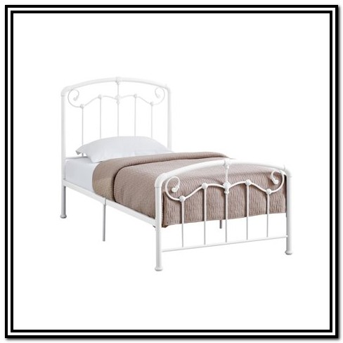 Metal Twin Bed Frame White