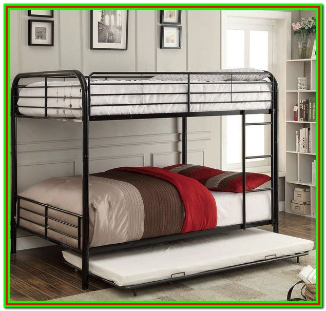 Metal Twin Over Full Bunk Bed With Trundle