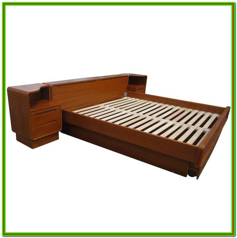 Mid Century Modern Bed With Attached Nightstands