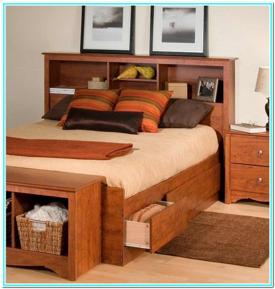 Queen Platform Bed Frame With Bookcase Headboard