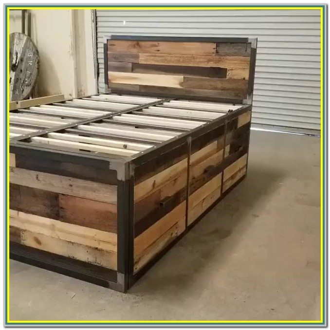 Reclaimed Wood Platform Bed With Storage