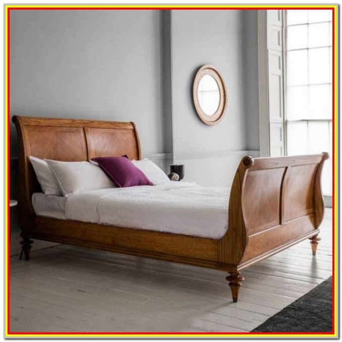 Super King Size Wooden Sleigh Bed With Storage