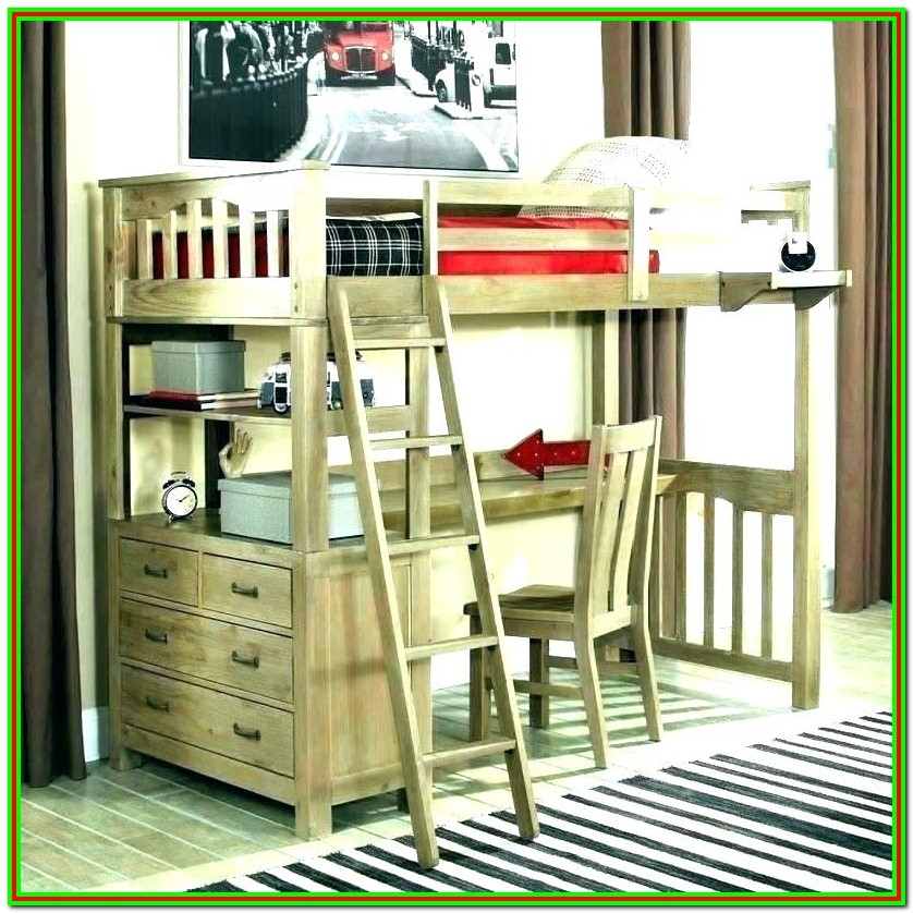 Twin Over Full L Shaped Bunk Bed With Desk