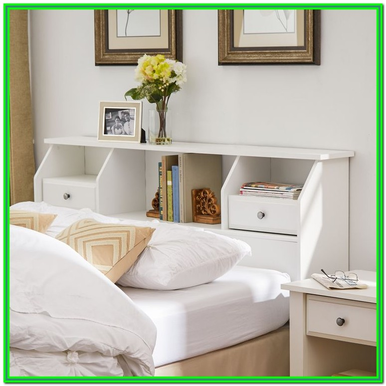White King Bed Frame With Storage And Headboard