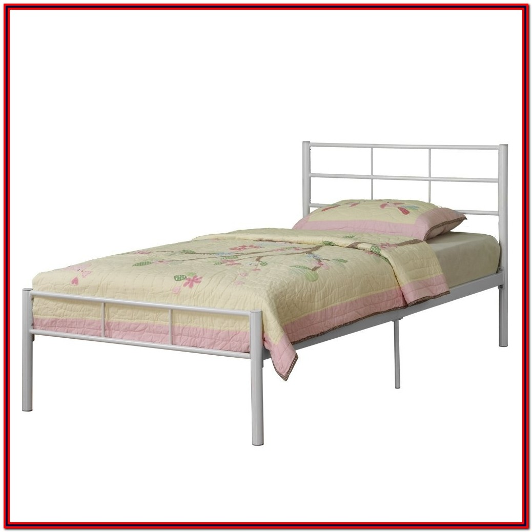 White Metal Twin Platform Bed Frame