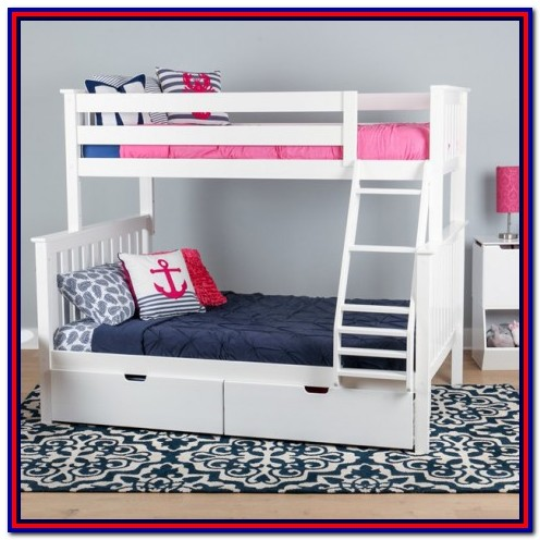 White Wood Bunk Beds Twin Over Full