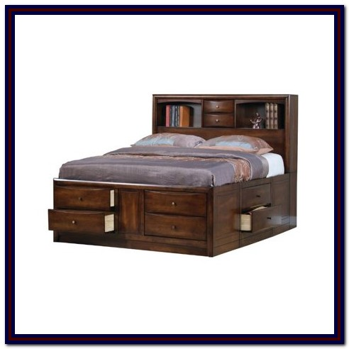 California King Storage Bed With Bookcase Headboard