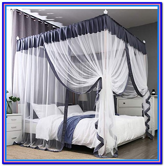 Canopy Bed Drapes Gray