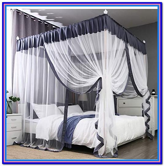 Canopy Bed Drapes Gray